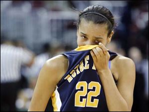 Notre Dame's Jayda Worthy (22) reacts after losing to Kettering Fairmont.