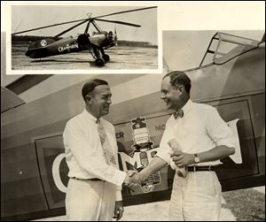R.A. Stranahan, president of the Champion Spark Plug Co. and Captain Lewis A. Yancey are shown at the start of th 1931 National Air Tour.