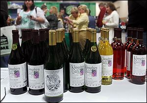 Bottles of wine from Klingshirn Winery were available to buy Saturday during the Glass City Wine Festival.