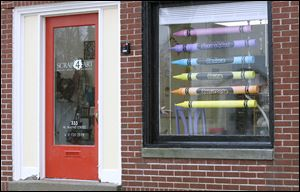 Crayon curtains are made of cardboard tubes and are for sale at Scrap 4 Art in Maumee.