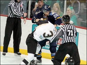 The Walleye's Stephon Thorne and Nailers' Joe Tolles fight.