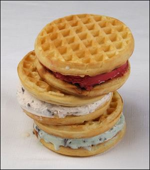 Ice cream and waffle sandwich.