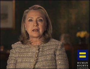 Former Secretary of State Hillary Rodham Clinton announces her support for gay marriage in an online video released today by the gay rights advocacy group Human Rights Campaign.
