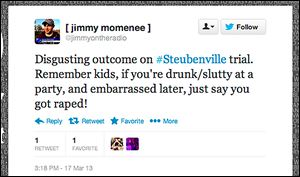 Jimmy Momenee's Monday night radio show on 88.3 FM WXUT was suspended after the flood of angry reactions to this tweet.
