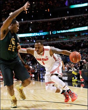 Ohio State's Deshaun Thomas, right, averages a Big Ten-best 19.5 points per game. But he's shooting only 38 percent from the field the past 13 games as the Buckeyes enter the NCAA tournament.