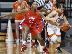 Bowling Green State University guard Jillian Halfhill (11) and SMU guard Farrin Bell (20) chase a loose ball.