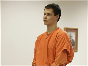 "In this Dec. 16, 2011 file photo, Colton Harris-Moore, also known as the ""Barefoot Bandit,"" stands in Island County Superior Court in Coupeville, Wash."
