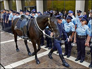 Michael McGee of the Toledo Police Department Mounted Patrol leads the riderless horse, Harley, past fellow officers during the Toledo Area Police Memorial Service honoring officers killed in the line of duty.  Harley was killed in an early morning fire at a horse-therapy farm in Oregon.