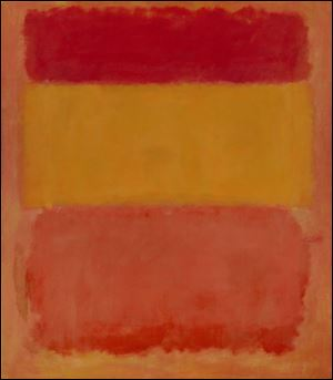 "FILE- In this undated file photo provided by Christie's Auction House, ""Orange, Red, Yellow,"" a 1956 painting by Mark Rothko is shown.   ""Mark Rothko: The Decisive Decade, 1940-50,"" on view at the Columbus Museum of Art until May 26."