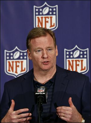 NFL Commissioner Roger Goodell answers a question from the media during a news conference at the annual NFL football meetings at the Arizona Biltmore, Wednesday, March 20, 2013, in Phoenix.