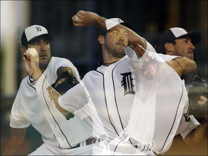Astros Tigers Spring Baseball In this multiple exposure photo, Detroit Tigers starting pitcher Justin Verlander throws during the sixth inning of an exhibition spring training baseball game against the Houston Astros in Lakeland, Fla.