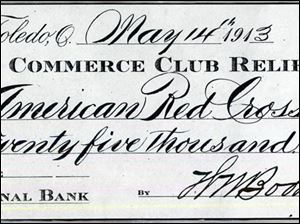 The Great Flood of 1913. This check represented the Balance of the Commerce Club Fnd after all bills had been paid, and after $13,000 in smaller donations had already been sent to Toledo's stricken neighbors.
