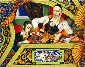 "Detail from  ""The Four Questions"" as depicted in Arthur Szyk's ""The Szyk Haggadah"".  Leonard Baskin's ""A Passover Haggadah"", Ben Shahn's ""A Haggadah for Passover"", and Arthur Szyk's ""The Szyk Haggadah""  all owned by the Toledo Museum of Art."