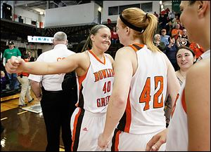 Bowling Green's Jill Stein, left, and Danielle Havel celebrate after the Falcons defeated Duquesne  in the second round of the WNIT on Saturday. Stein led the Falcons with 16 points in the victory.