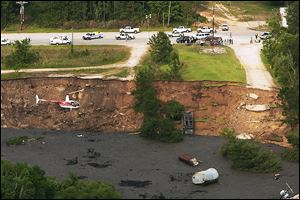 In May, 2008, a massive sinkhole near Daisetta, Texas,  swallowed up oil field equipment and some vehicles.