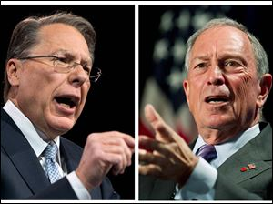 National Rifle Associate Executive Vice President Wayne LaPierre, left, and New York Mayor Michael Bloomberg claim their opposing views on guns have the support of the overwhelming number of Americans. They are looking at the next two weeks as critical to the debate, when lawmakers head home to hear from constituents ahead of next month's anticipated Senate vote on gun control.
