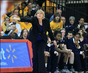 UT associate head coach Vicki Hall has earned a reputation as a motivator and demands maximum intensity from players.
