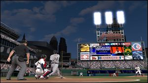 A screen shot showing the Detroit Tigers vs. the Cleveland Indians from MLB 13: The Show.