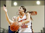 BG guard Jillian Halfhill drives on Drexel guard Meghan Creighton during  WNIT action on Thursday at the Stroh Center.