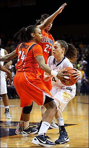 Naama Shafir, right, scored 10 points in the last game of her four-year career at Toledo.