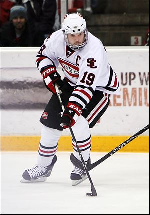 St. Cloud State's Drew LeBlanc is a finalist for the Hobey Baker Award this season. The senior had a bounce-back season after severely breaking his left leg in November, 2011.
