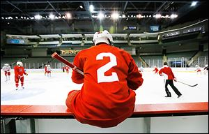 Miami's Taylor Richart sits on the boards during practice at Huntington Center on Friday.