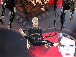 "Singer Pink performs during her ""The Truth About Love"" tour at Madison Square Garden in New York."
