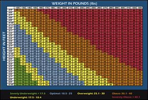 A body mass index chart divide a a person's body weight by the square of his or her height.