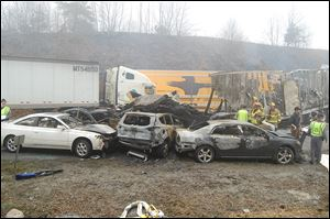 A 95-vehicle pileup on Interstate 77 near the Virginia-North Carolina border in Galax, Va. killed three people and injured more than 20.