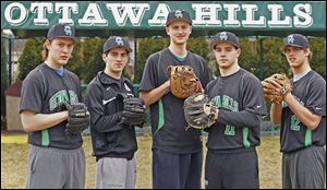 Ottawa Hills won the TAAC championship last season and reached the regional semifinal. Returning top players are, from left: Scott Tucker, Zack Hauck, Joe Mackey, Will Longthorne, and Judah Wollenburg of Ottawa Hills.
