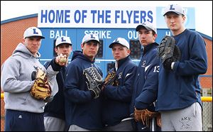 Lake won the NBC title and a district championships last season. Top returning players are, from left,  Nick Walsh, Casey Blank, Brad Ackerman, Cody Witt, Anthony Pratt, and Jayce Vancena. The Flyers were 24-6 last year.
