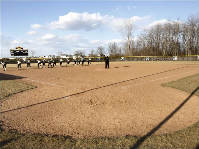 Perrysburg played the inaugural softball game against Saint Francis DeSales, of Columbus, on Perrysburg's new field Tuesday afternoon at Perrysburg High School.