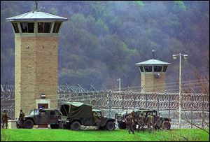 The National Guard responded to a riot at the Southern Ohio Correctional Facility in April, 1993.