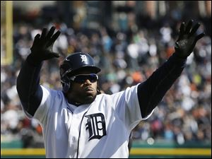 Detroit Tigers' Prince Fielder acknowledges the crowd after hiting a 3-run home run during the fifth inning.