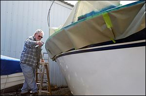 """I was always in anything that floats from the time I was 9, 10 years old,"" Don Steiner of Mansfield, said. He and his wife, Kris, were in Port Clinton on Tuesday to touch up the paint on their boat."