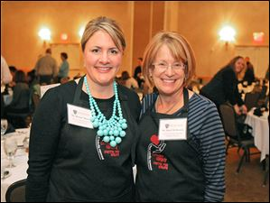 Brooke Moser and Joan Uhl-Browne pose during the 5th Annual Celebrity Wait Night Fundraiser for the Catharine S. Eberly Center for Women at the Toledo Hilton Garden Inn, February 26, 2013.