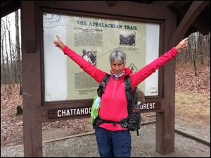 Cheryl McCormick at the starting point of the Appalachian Trail in Springer Moiuntain, Georgia.