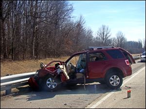 Today, at approximately 2:30 p.m., officers from the Indiana State Police and the Grant County Sheriff's Department responded to a two vehicle crash on I-69 near the 268 mile marker, in which a Findlay, OH, man died.