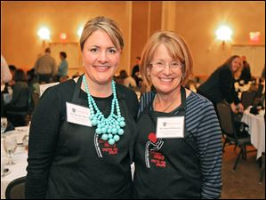 Brooke Moser and Joan Uhl-Browne pose during the 5th Annual Celebrity Wait Night Fund-raiser for the Catharine S. Eberly Center for Women at the Toledo Hilton Garden Inn.