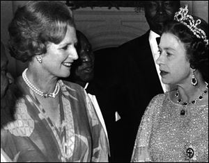 Britain's Queen Elizabeth II talks with British Prime Minister, Margaret Thatcher, left,  at a reception for the 39 heads of delegations attending the Commonwealth Conference in Lusaka, Zambia, on Aug. 1, 1979.