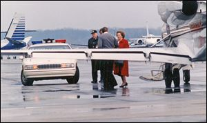 Margaret Thatcher arrived at Toledo Express Airport in 1992 to address 1,400 people at a black-tie dinner sponsored by the Junior League of Toledo at SeaGate Convention Centre.