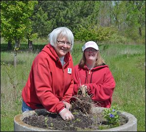 Friends of Maumee Bay State Park members Annett Textor, left, and her daughter, Megan, pitch in on a cleanup project.