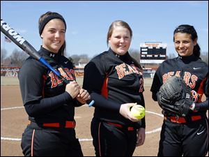 Gibsonburg is favored to win the TAAC with, from left, Filomena Mendoza, Danielle Fisher, and Elena Mancha.