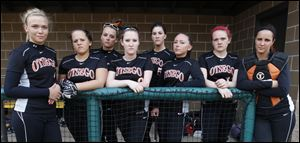 Otsego is favored to win the NBC title with, from left, Tayler Bowen, Danielle Lashaway, Nicole Thomas, Paige Ireland, Natalie Wright, Savannah Schwind, Kylie Asmus, and Emily Carson.