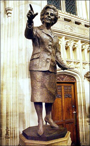 A bronze statue of former British prime minister Margaret Thatcher is in the Palace of Westminster.
