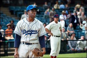 Chadwick Boseman as Jackie Robinson in a scene from
