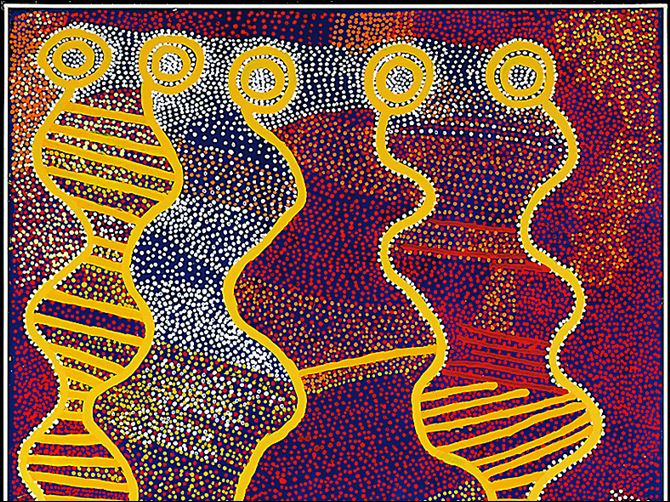 Aboriginal acrylic The exhibit includes this piece by Shorty Jangala Robertson, an acrylic on canvas from 2007.