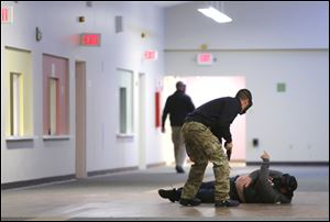 The University of Toledo Police Department is hosting active shooter training all week to instruct officers from UTPD and area police departments how to enter a building by themselves when a shooter is inside.