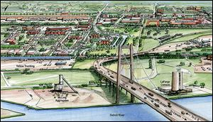 An artist's rendering  shows the proposed New International Trade Crossing linking Detroit and Windsor, Ontario, 2 miles south of the Ambassador Bridge.