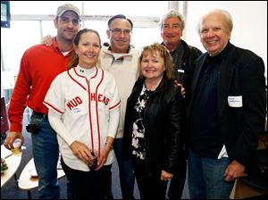 Left to right Steve Boyer, Candy Millon, Larry Boyer, Kathy Kuyoth, Tom Heintschel, and Mike Zapiecki in the Waterford Bank suite.